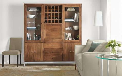 Linear storage cabinet in living room