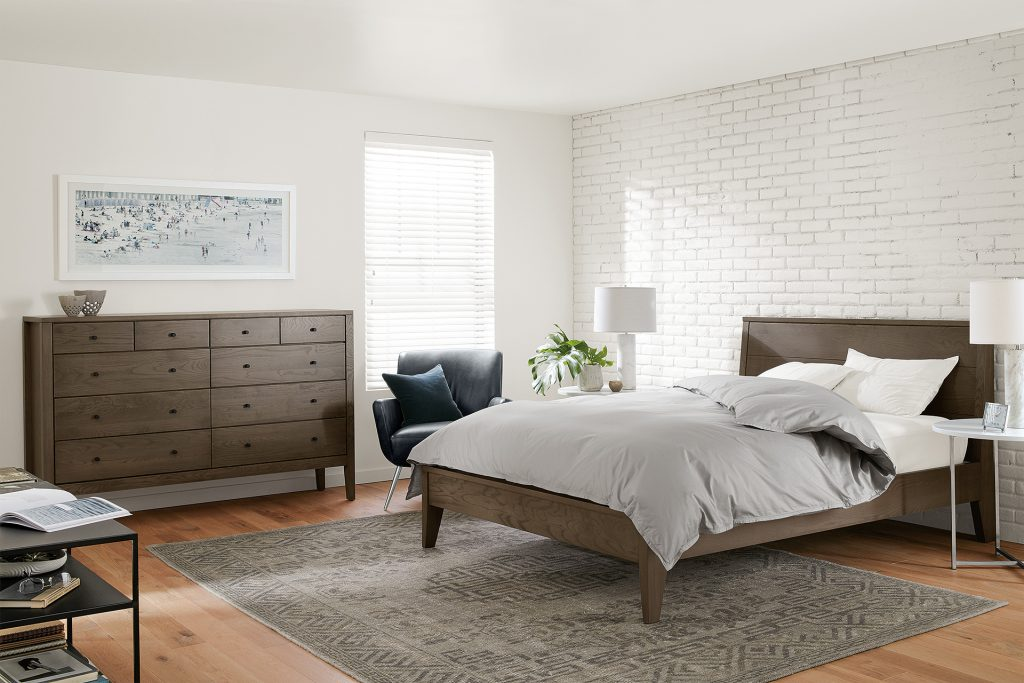 Calvin bed and dresser in bark finish
