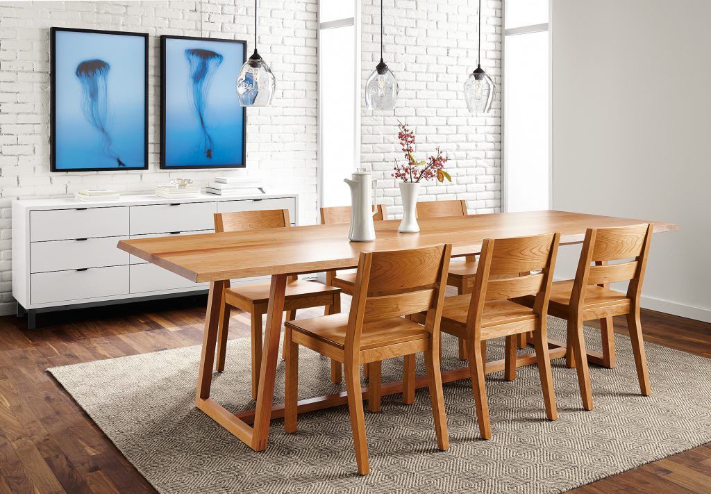 Avani wool rug with Davis dining table
