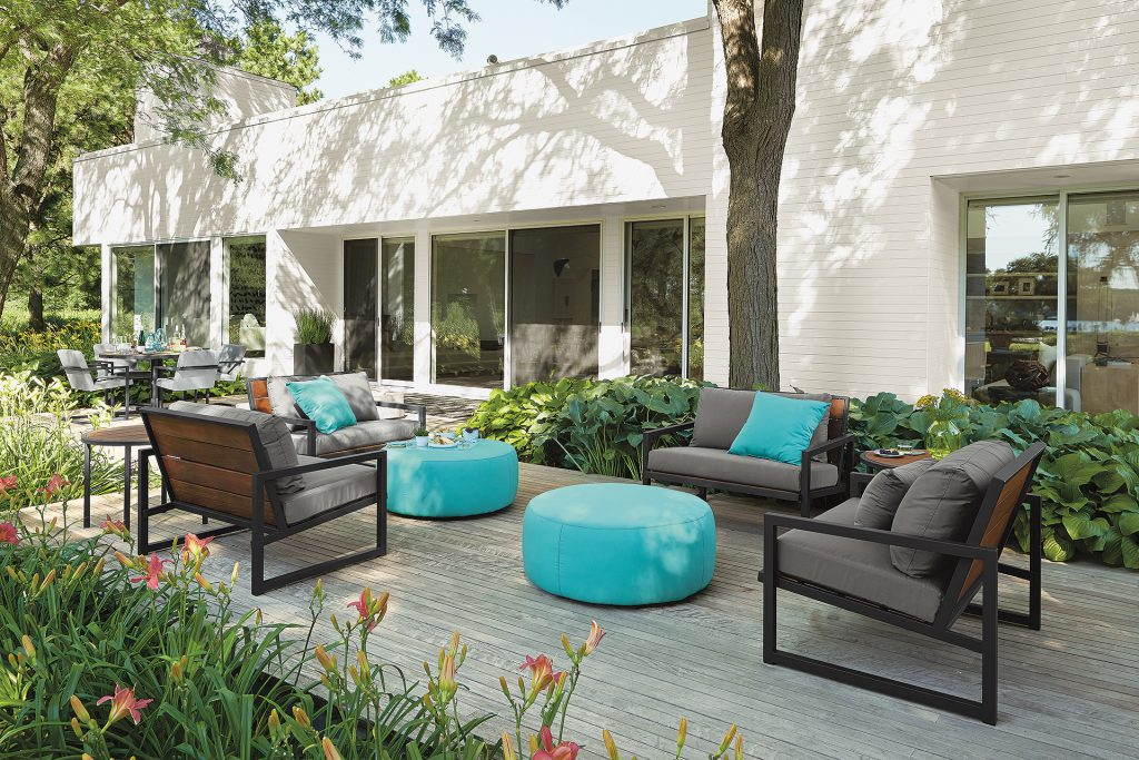 Montego outdoor chairs and Boyd ottomans