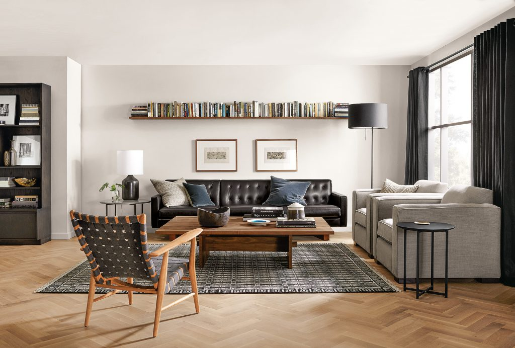 Mantel shelves in living room
