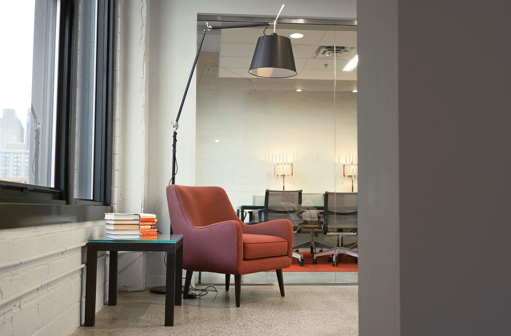 Quinn chair, Parsons end table and Tolomeo Mega Floor Lamp