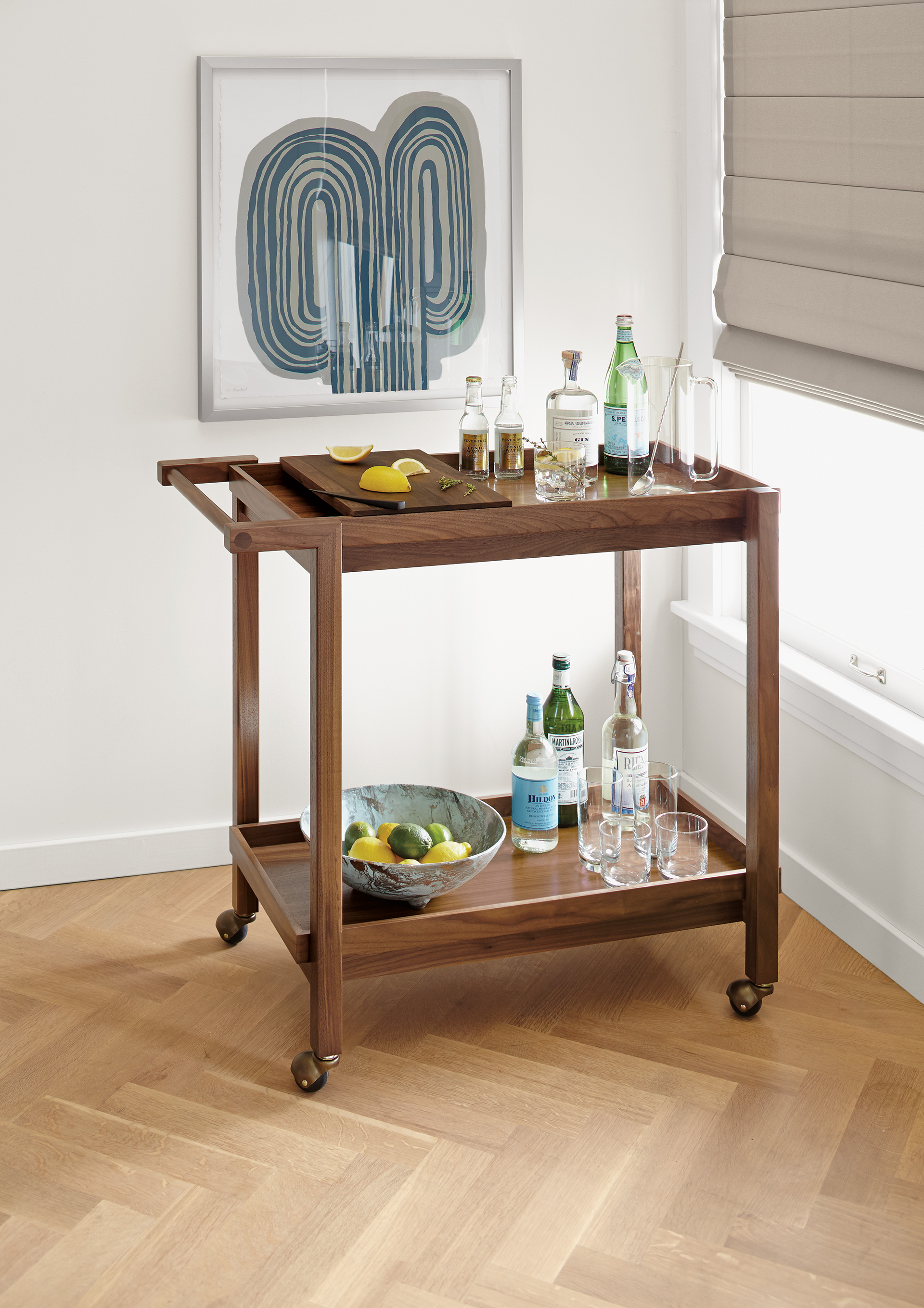 Breck bar cart with Wall art