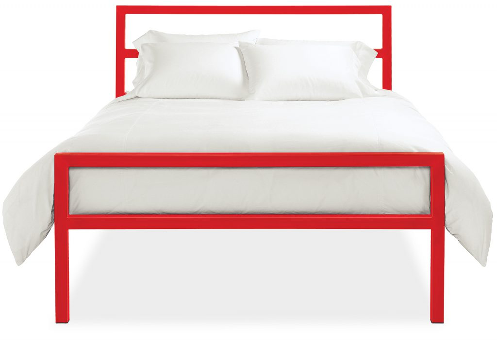Artisan crafted Parsons bed with red steel frame