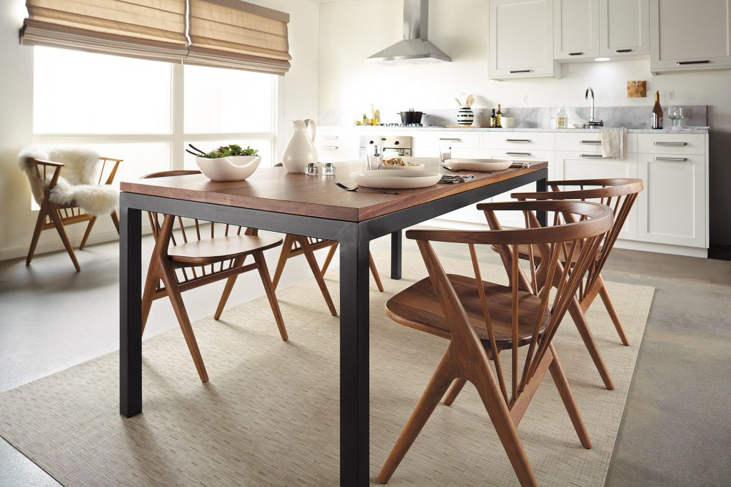 Parsons table with Soren chairs in dining room