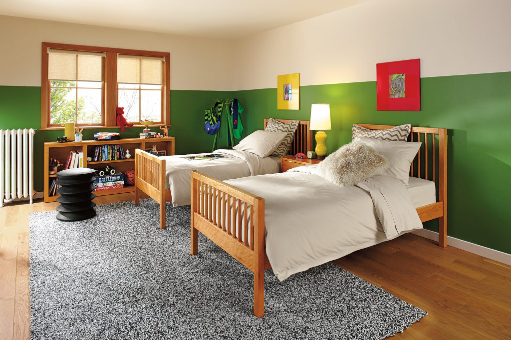 Pepin twin beds with Ergo stool