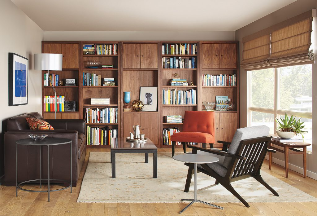 Woodwin bookcase units with Sanna chair