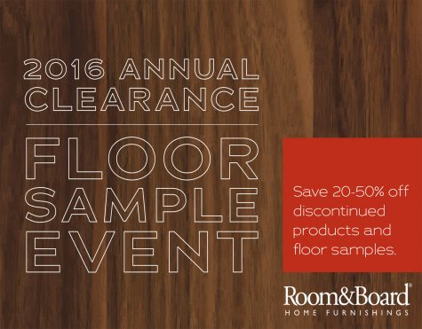 Clearance event and floor sample sale