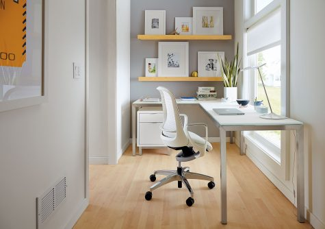 hallway office with l-shaped desk in modern white