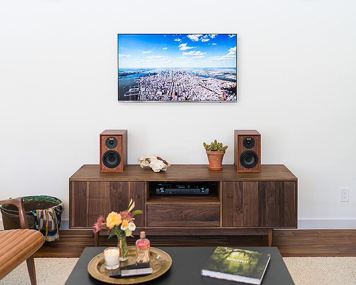 Grove media cabinet in Theron's living room