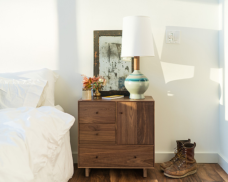 Hudson nightstand and Rayas table lamp in Theron's bedroom