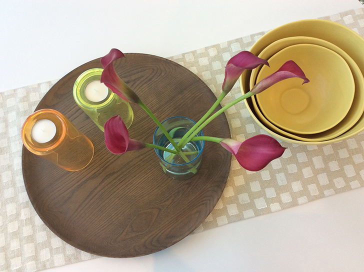 Tabletop decor featuring Clarion vases, Row table runner and Anya nesting bowls