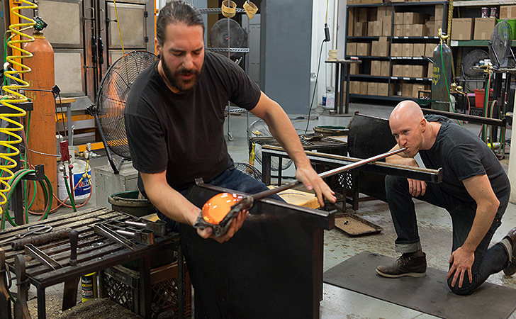 Jackson and Joe of Hennepin Made blowing glass