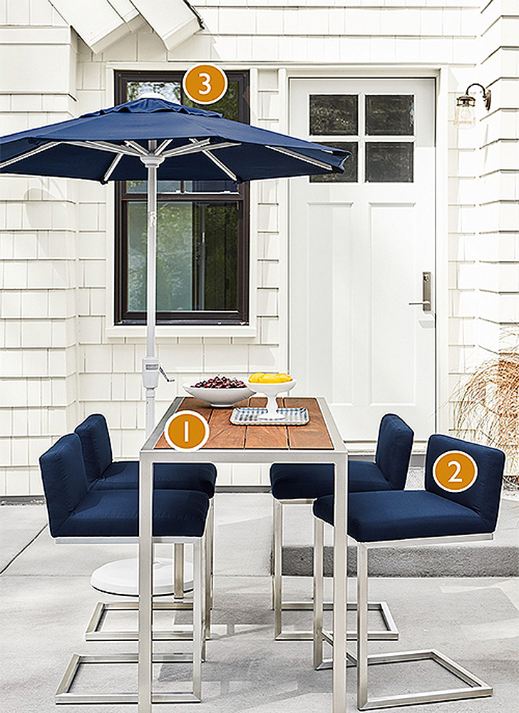 Montego outdoor counter table and Finn stools on small patio