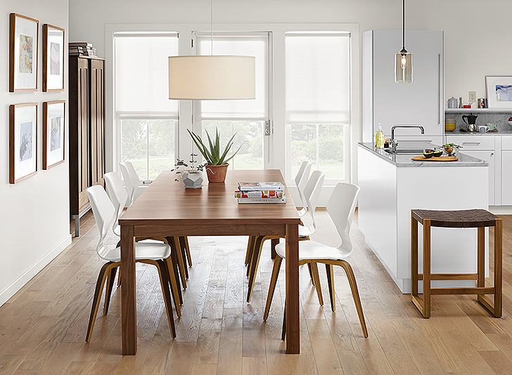 Against The Light Floor And White Walls Cabinets Walnut Of Andover Table Pike Chairs Linear Cabinet Makes This Room Feel Grounded