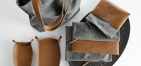 Leather totes and trays