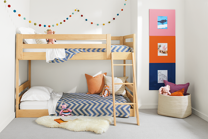 Waverly kids mini bunk bed with Ascent bedding