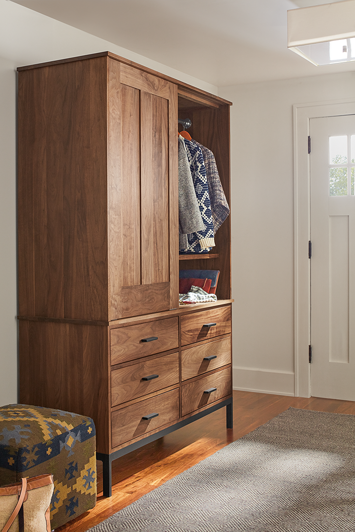 Linear armoire in entryway