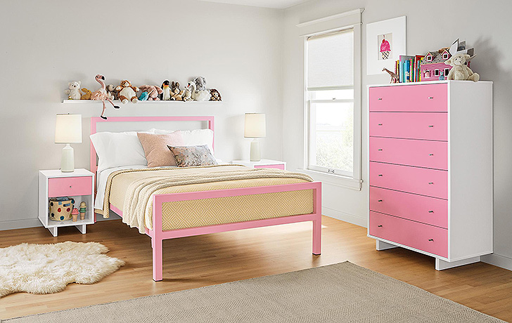 Pink parsons kids bed and pink Moda dresser