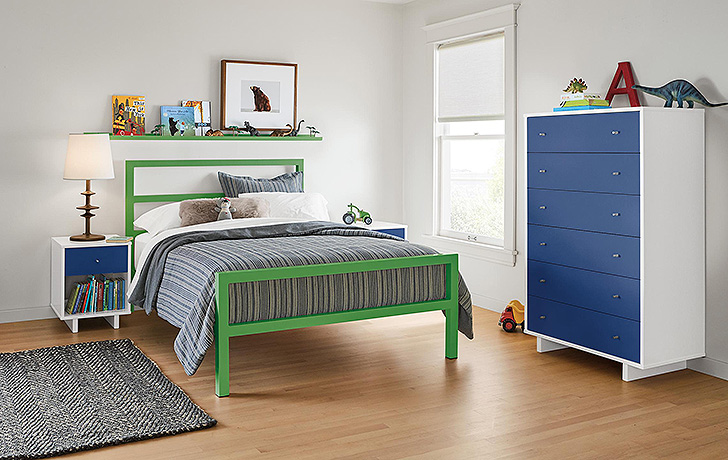 Green Parsons kids bed and Blue moda dresser