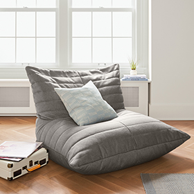 Levi lounge chair is a modern beanbag.