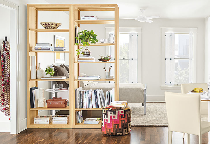Woodwind bookcase to divide small spaces