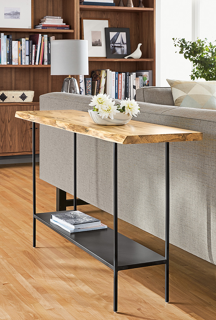 Console table with wood and natural steel