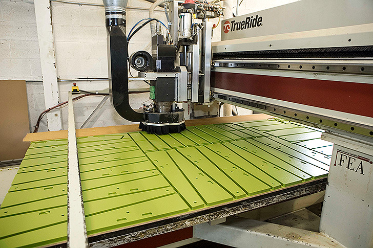 recycled HDPE on a laser cutting table