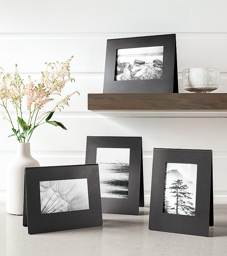 Bend minimal natural steel free-standing picture frames