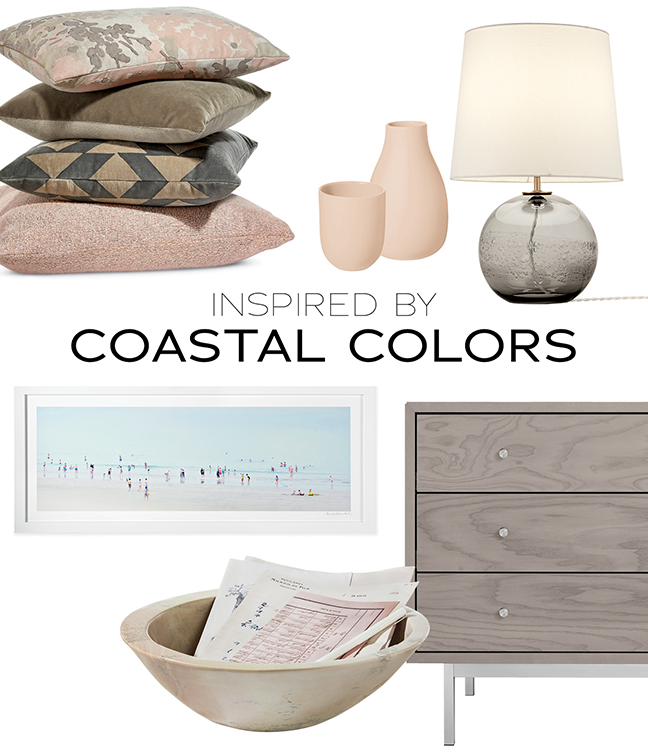 Coastal colors collage featuring home decor and furniture