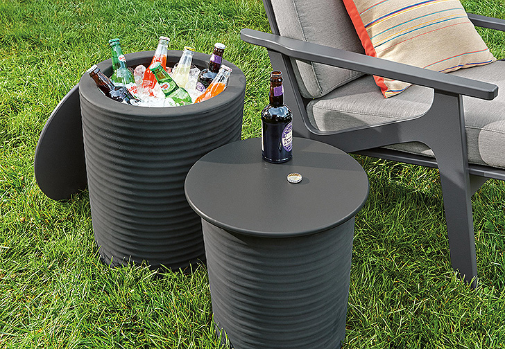 Outdoor storage end table