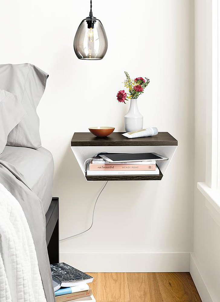 Alta wall shelf as a nightstand in bedroom