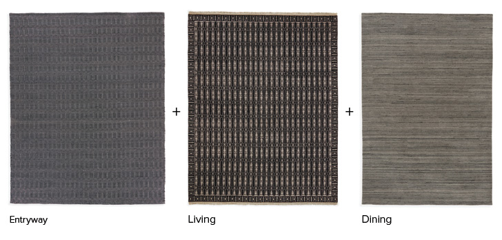 Coordinating rugs in black and naturals