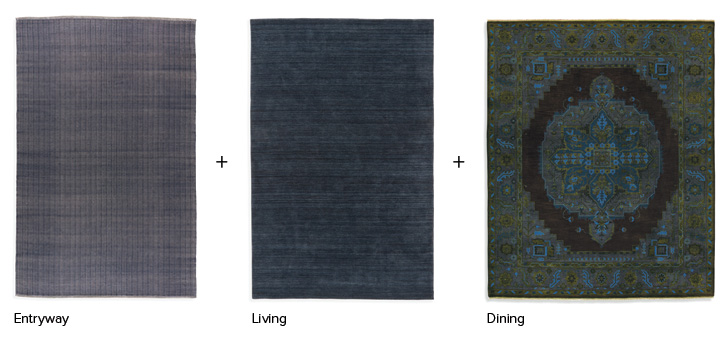 Coordinating rugs in blue tones