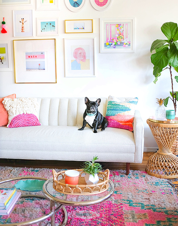 Colorful living room with custom Goodwin sofa by Hot Pink Pineapples