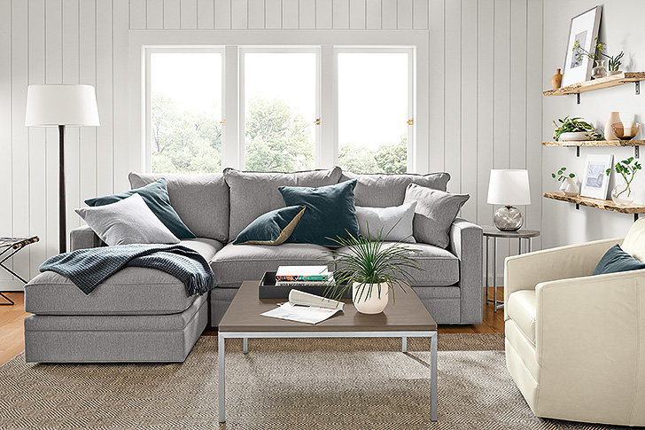 Orson modern sectional in gray fabric