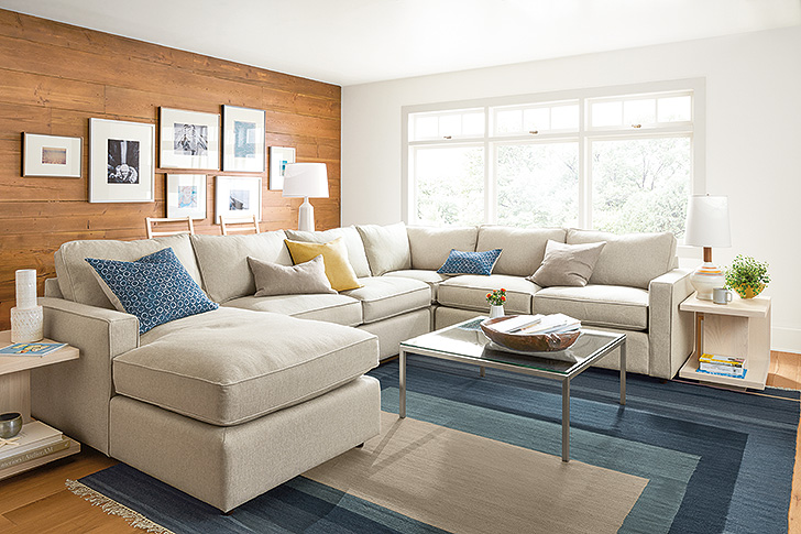 York modern sectional in ivory fabric