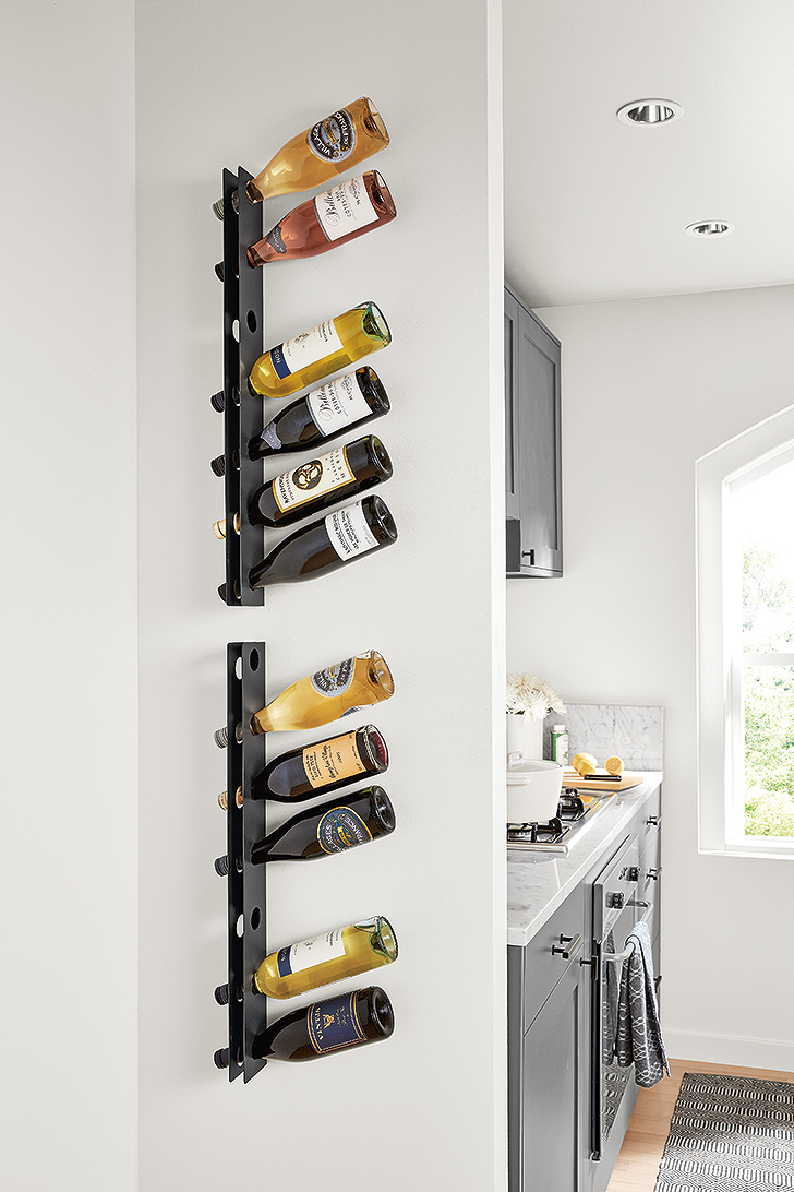 Vertical Covent wine rack in natural steel