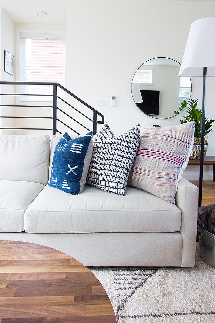 White sofa in Gaby Dalkin's living room
