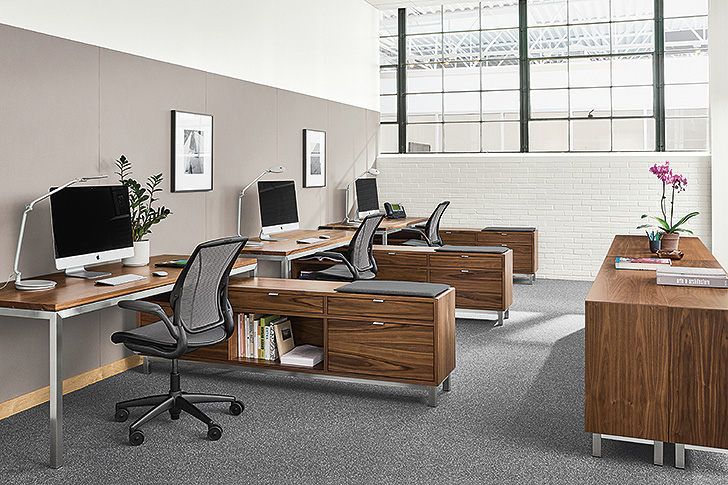 Multi-desk benching systems layout with Portica desks and Copenhagen file storage benches