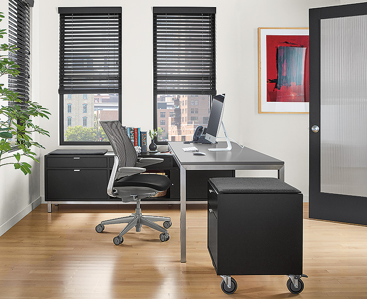Portica desk benching solution with file storage bench and cabinet