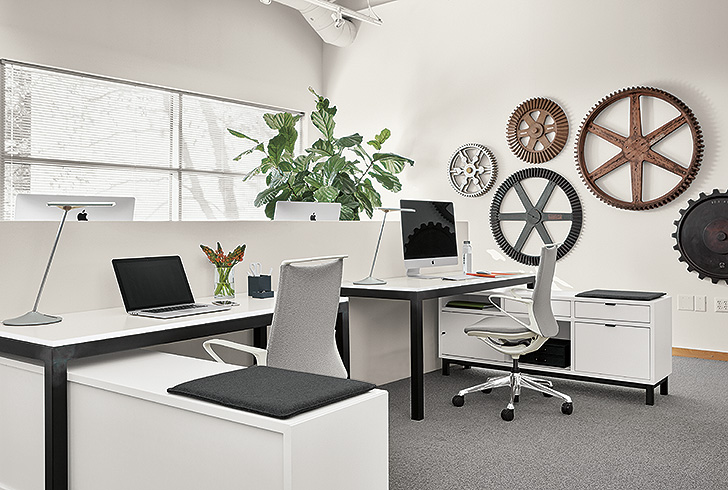 Multi-desk benching systems work station with Parsons desks and Copenhagen storage file benches in white