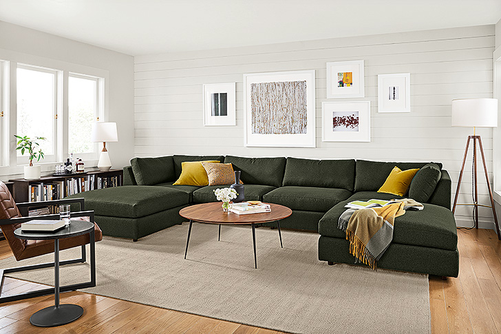 modular large sectional in olive green fabric