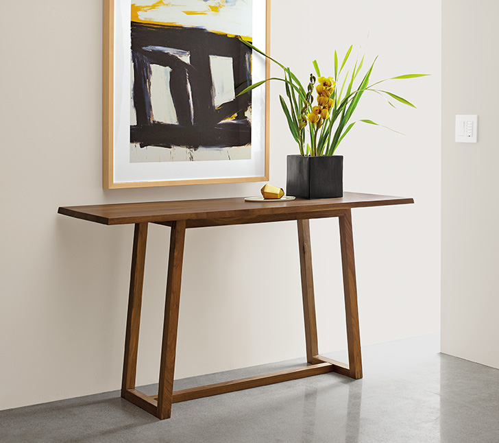 small black square planter on console table