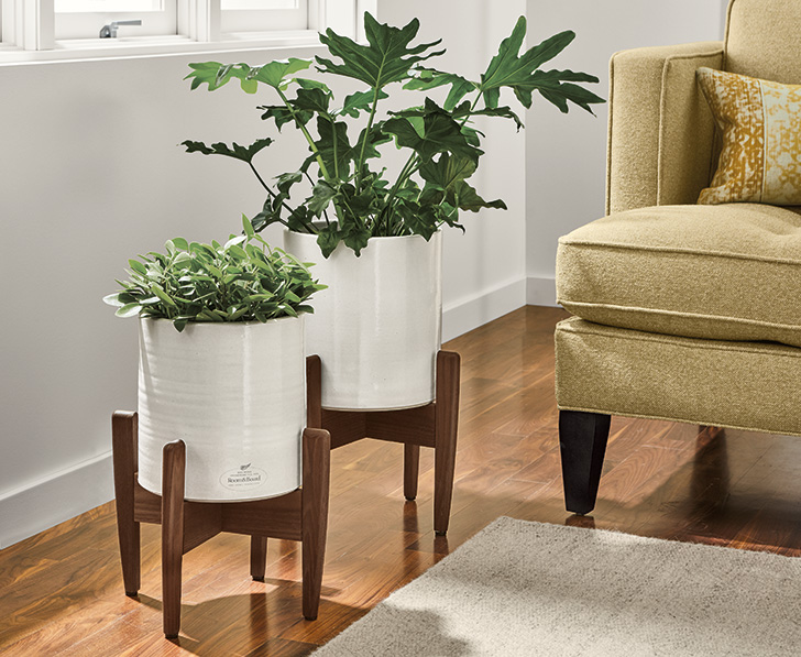 white planter in wood stand on floor