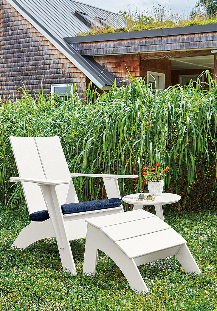 Emmet tall chair and tall ottoman outside