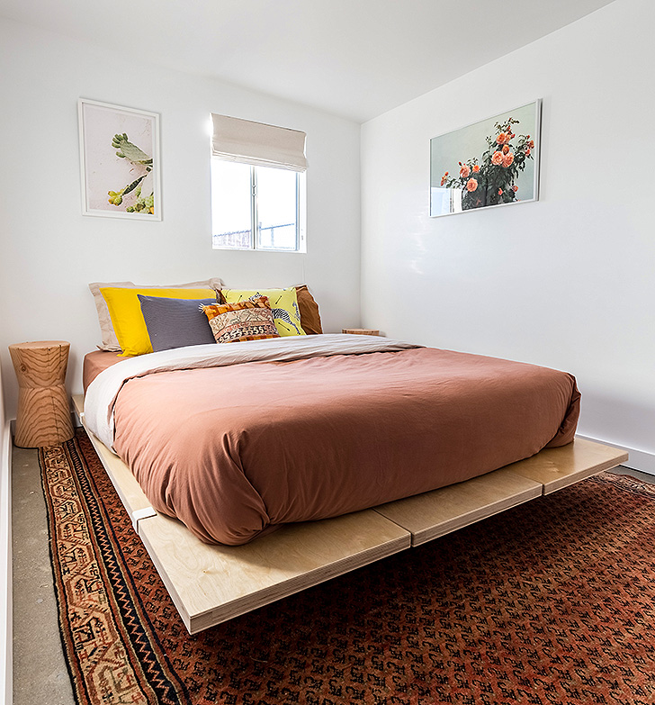 Guest bedroom with platform bed