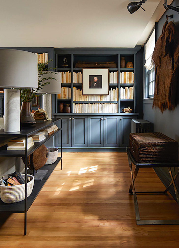 Built-in navy bookcases in Brooklyn brownstone