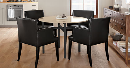 Benson Dining Table with Marie Leather Chairs