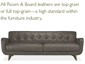 All Room & Board leathers are top-grain or full top-grain—a high standard within the furniture industry.